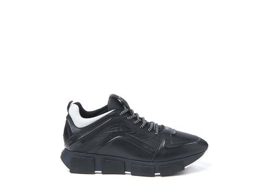 Leather and nylon trainer