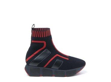 Baskets effet chaussette rouges avec empiècements
