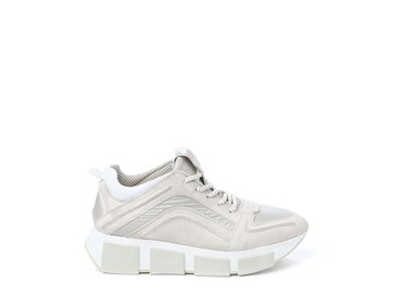 Beige leather and nylon trainer
