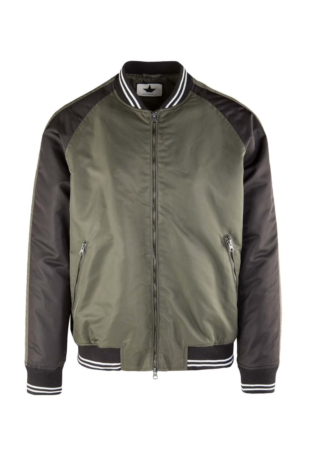 Two-Tone Satin Nylon Bomber Jacket
