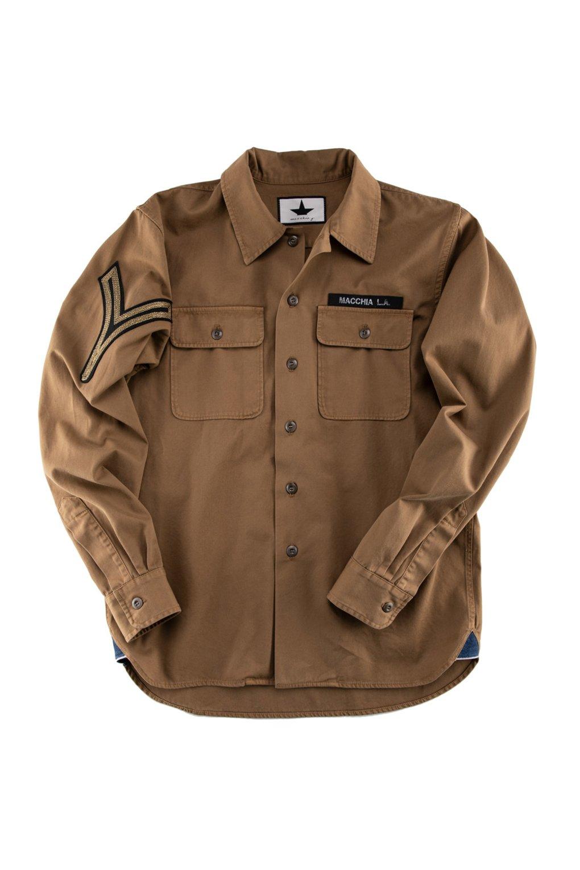 Giacca Overshirt in Gabardina con inserti militari