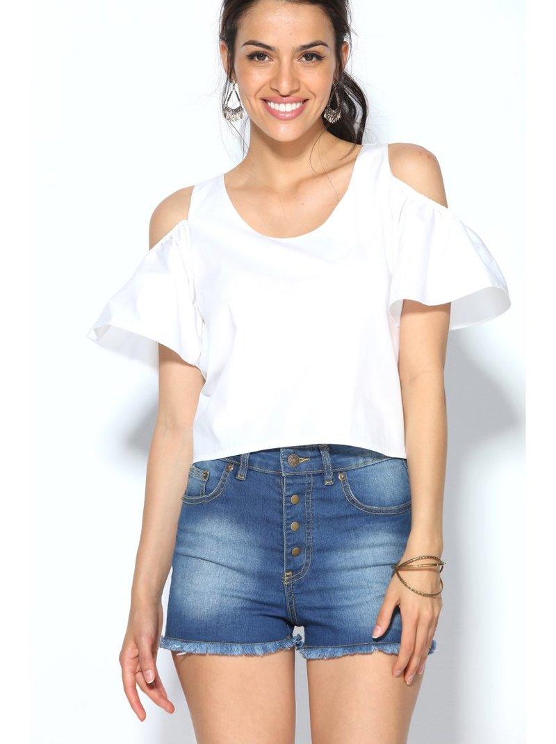Blusa mujer crop top de manga capa caída