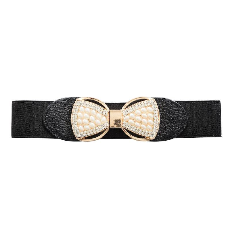 Cinturón elástico mujer con lazo strass y perlas
