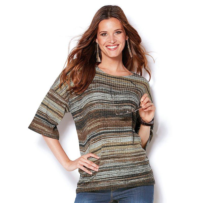 Jersey de señora manga 3/4 a rayas en suave tricot