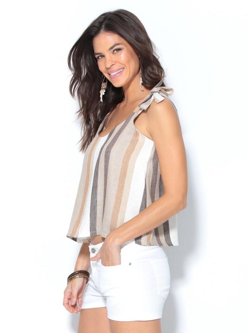 Blusa de lino mujer a rayas tirantes de lazo algodón
