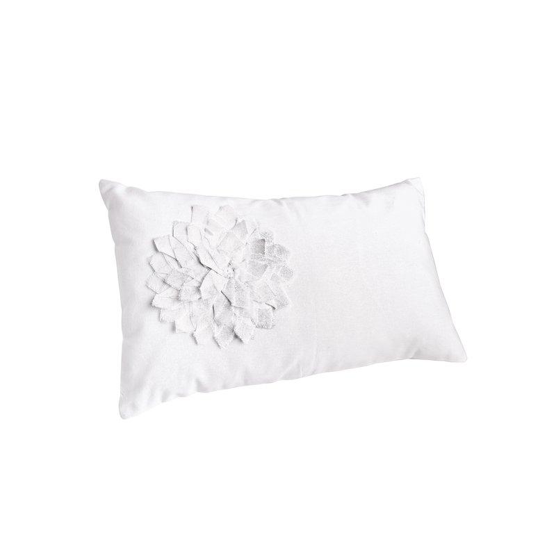 Funda de cojín de algodón con flores aplicadas