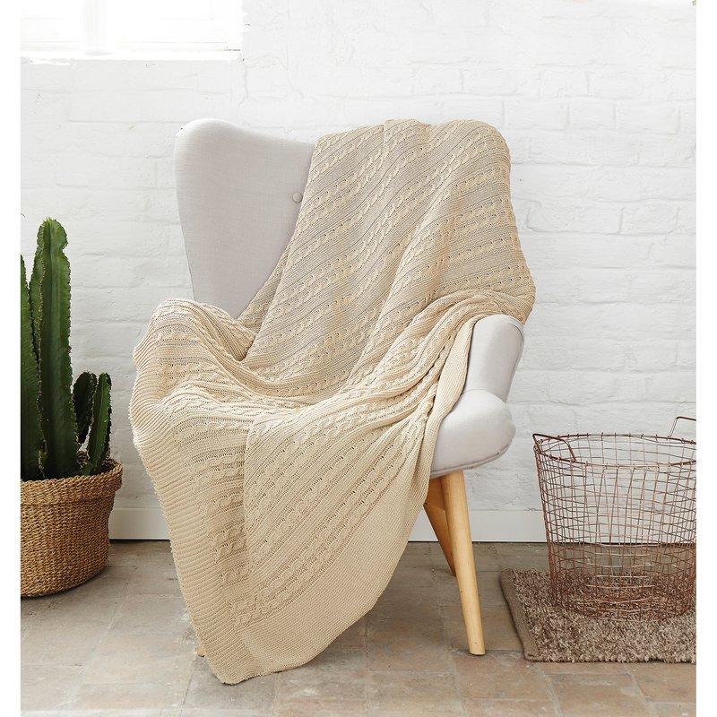 Manta plaid multiusos algodón punto tricot