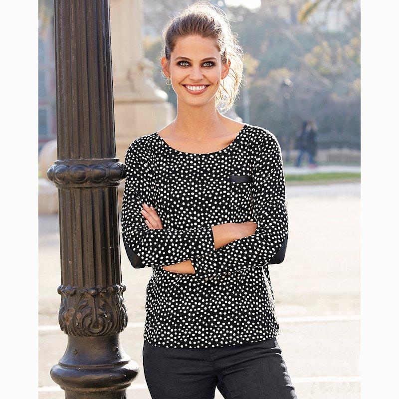 Camiseta de topos mujer y codera a contraste