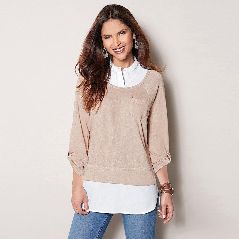Camiseta mujer efecto doble tejidos combinados