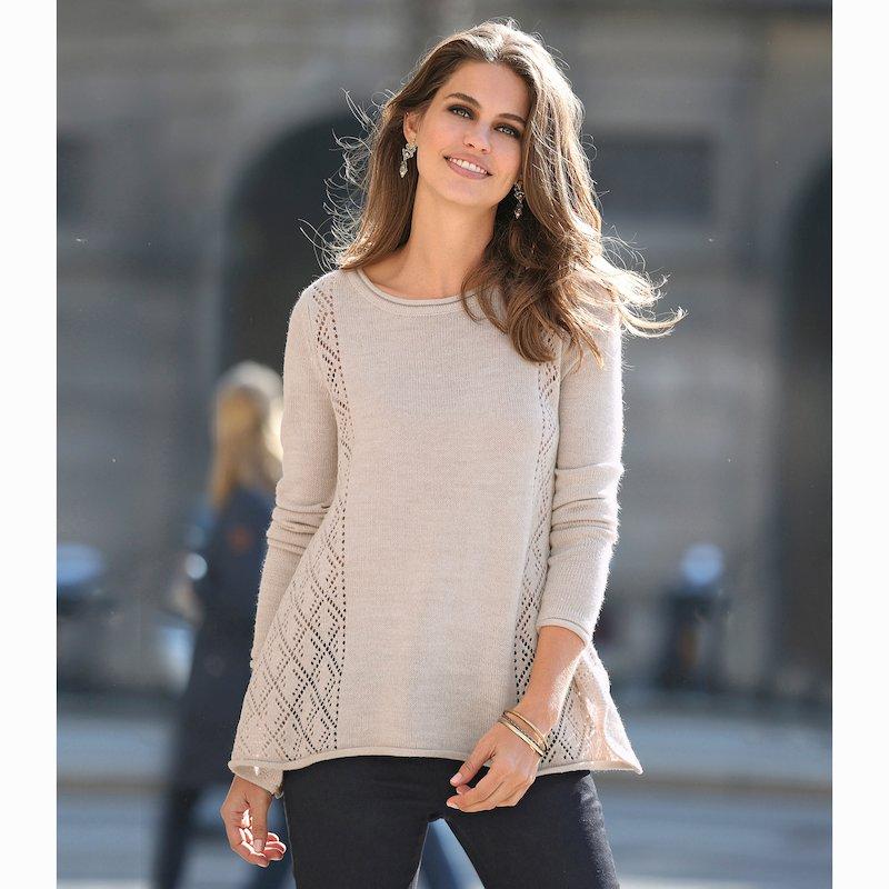 Jersey de forma trapecio con calado en tricot
