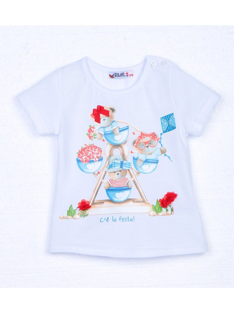 Camiseta de niña estampado con aplicaciones
