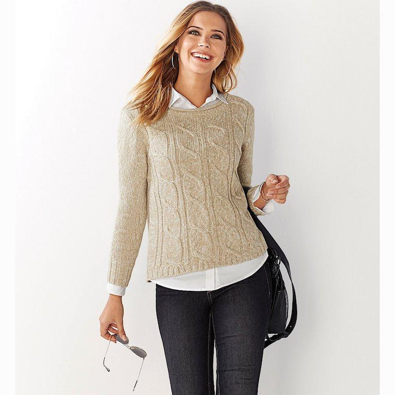 Jersey mujer tricot con trenzas escote acabado roulé