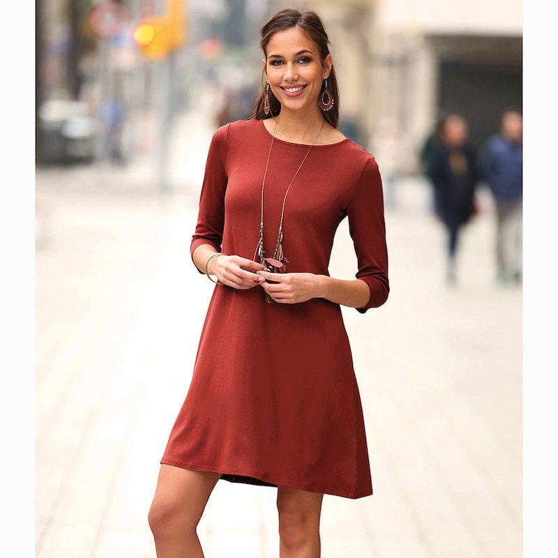Vestido de punto liso mujer de línea evasé