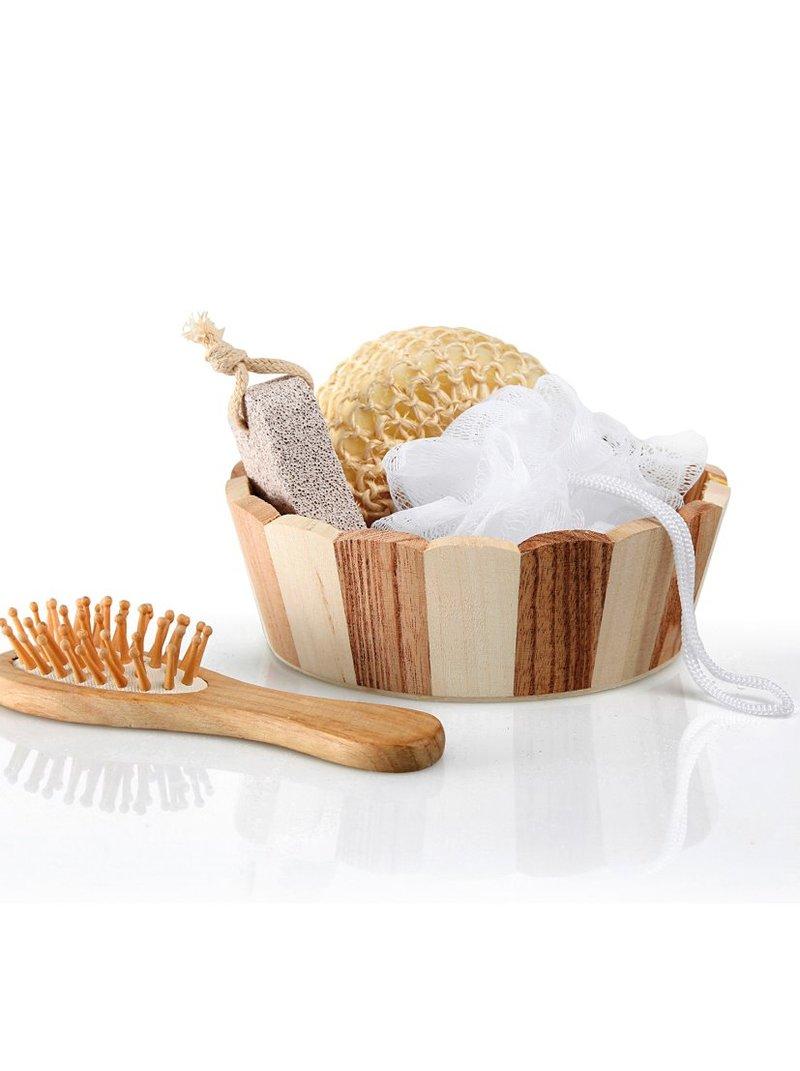 Cesta baño de madera con accesorios
