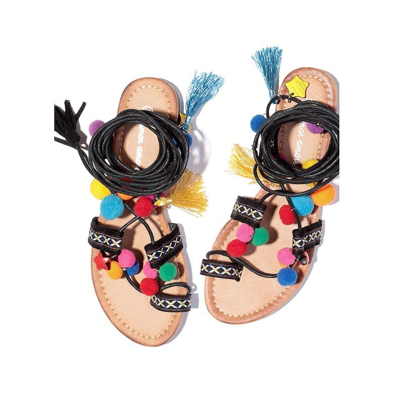 Sandalias plana mujer con pompones y borlas