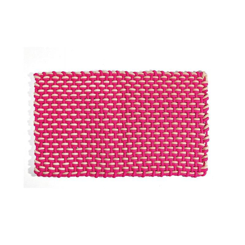 Alfombra rectangular trenzada bicolor multiusos