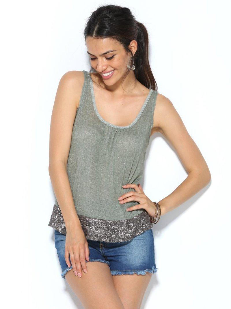 Camiseta tirantes mujer punto con hilos metalizados