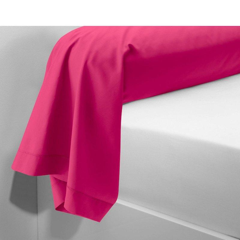 Funda de almohada tejido 100% algodón color fucsia