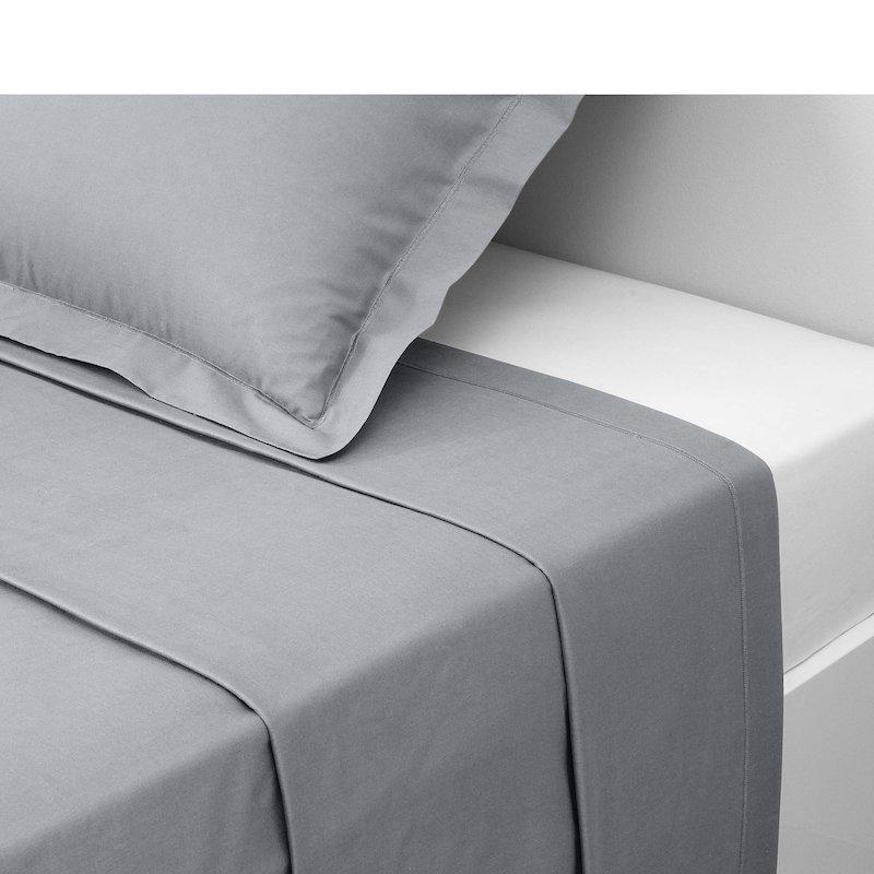 Sábana encimera 100% algodón color gris
