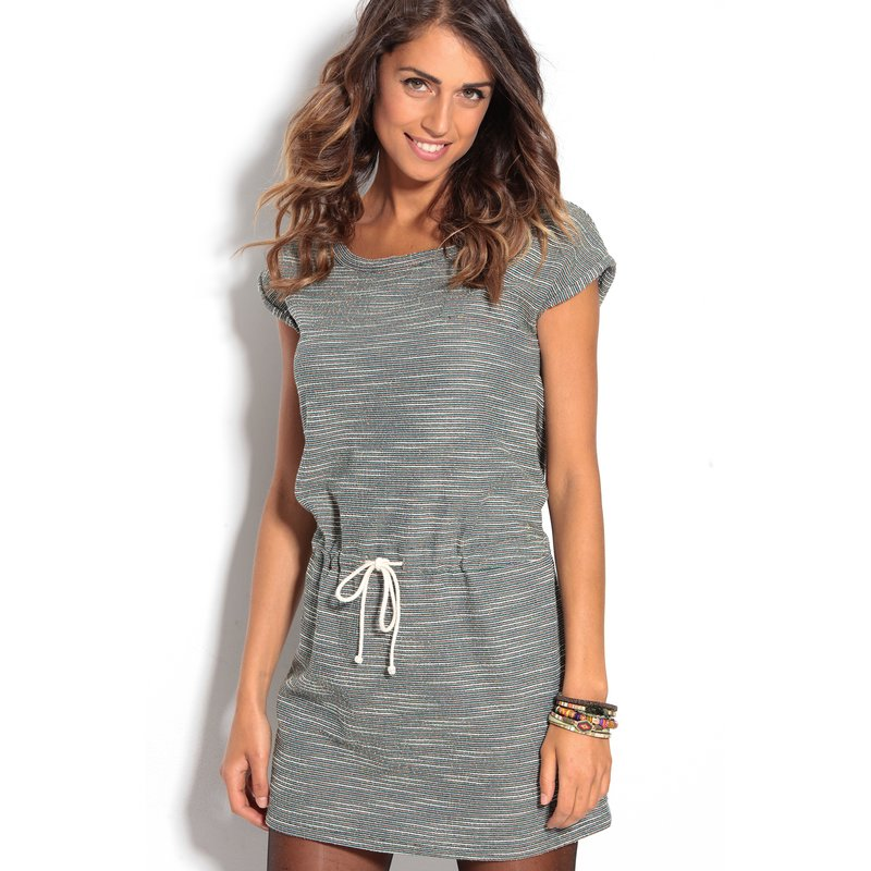Vestido felpa con cintura ajustable rayas multicolor