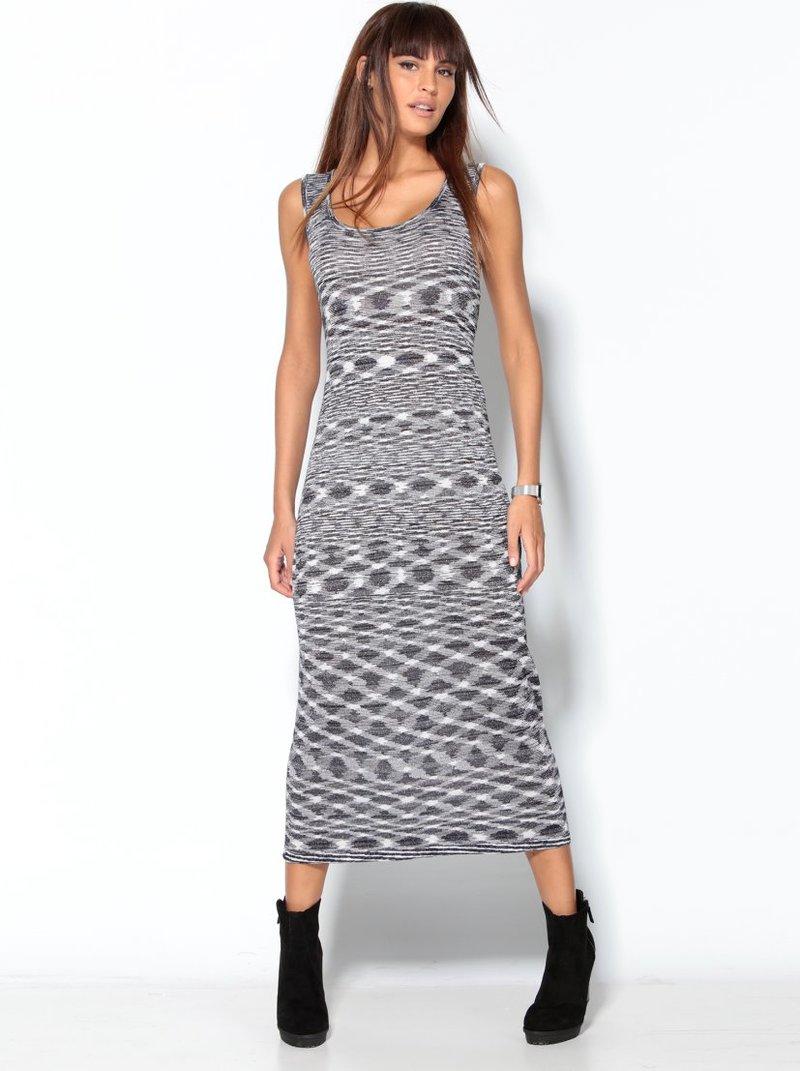 Vestido largo mujer sin mangas con hilos metalizados