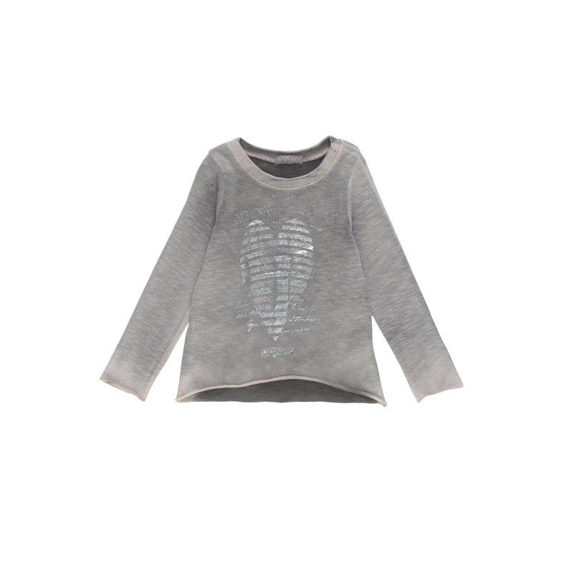 Camiseta de niña con corazón metalizado