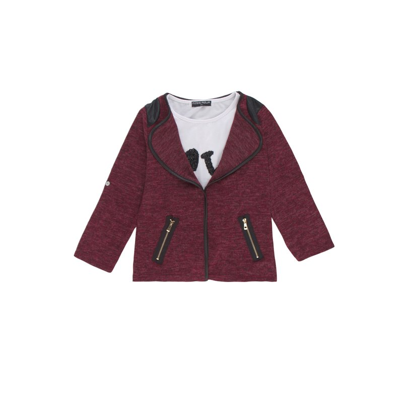 Chaqueta niña fino tricot manga regulable