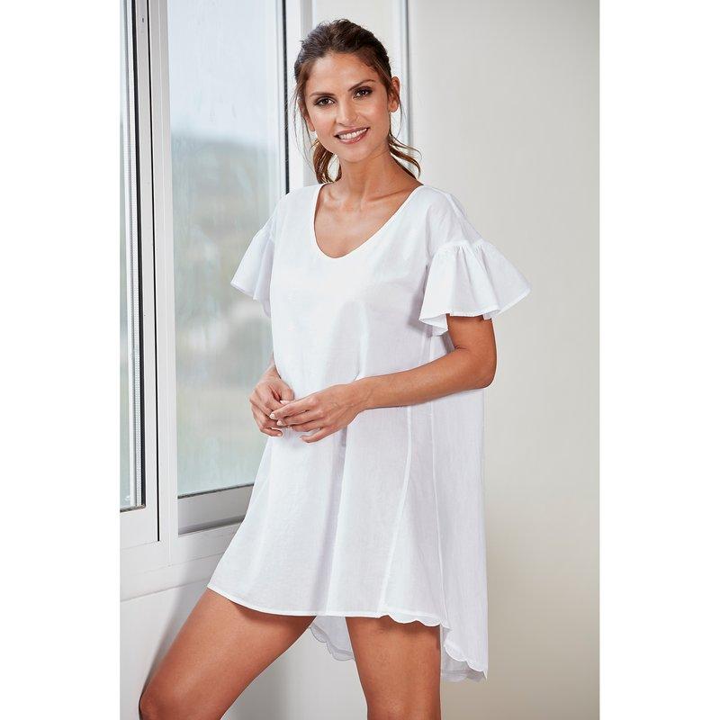 Camisón corto romántico mujer algodón cambric