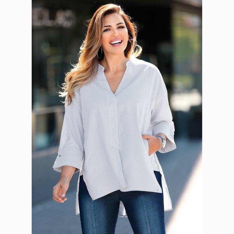 Blusa rayas con largo asimétrico tejido popelín