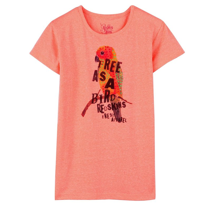 Camiseta niña manga corta flúor pedrería