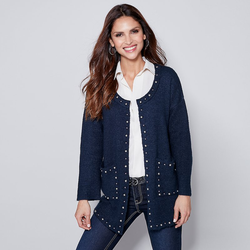 Chaqueta cárdigan mujer tricot con aplicaciones