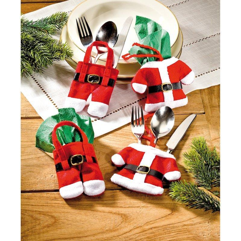 Juego 4 piezas para cubertería ropa de Papá Noel
