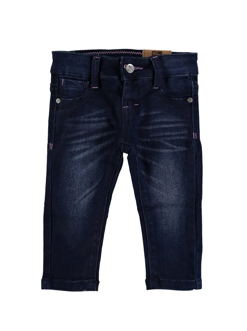 Pantalón vaquero elástico de niña pespuntes - Azul