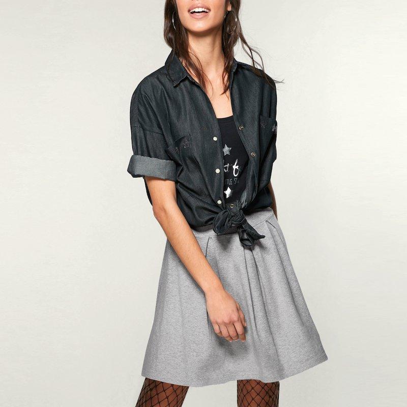 Falda de mujer para mujer de corte acampanado con pliegues