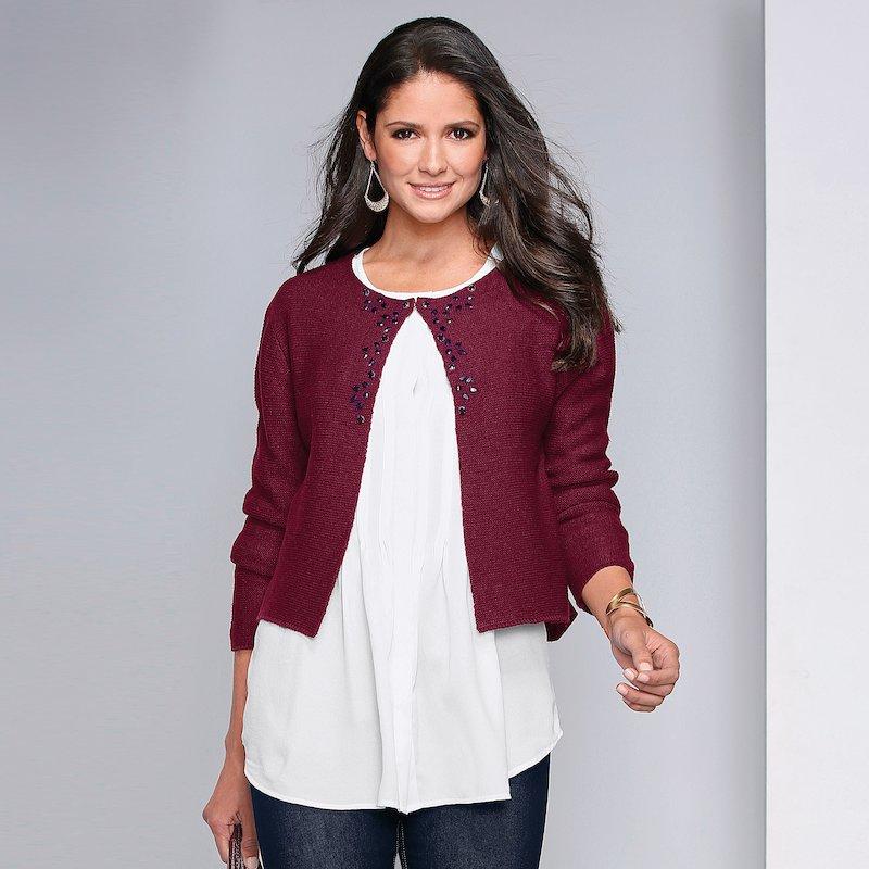 Chaqueta de mujer tricot con pedrería