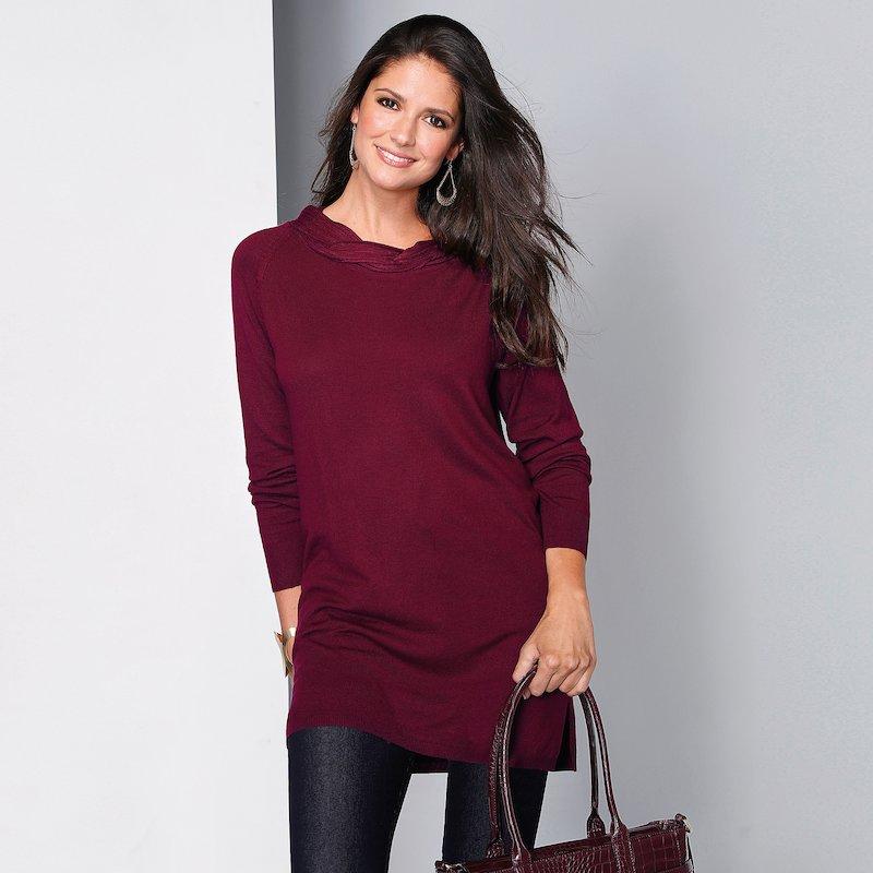 Jersey largo tricot con banda trenzada alrededor del escote - Rojo