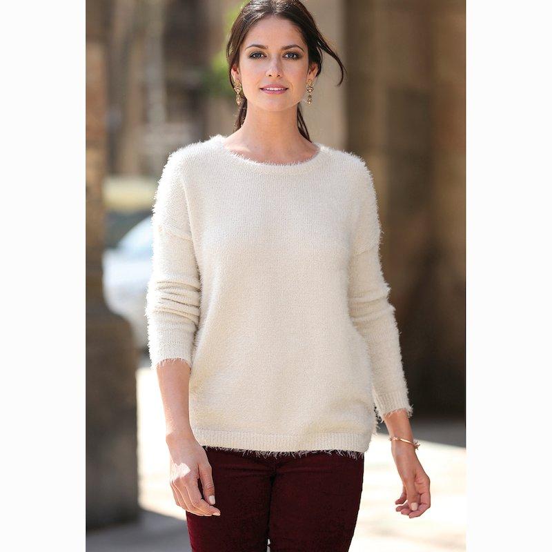 Jersey tricot escote redondo y  con suave tacto