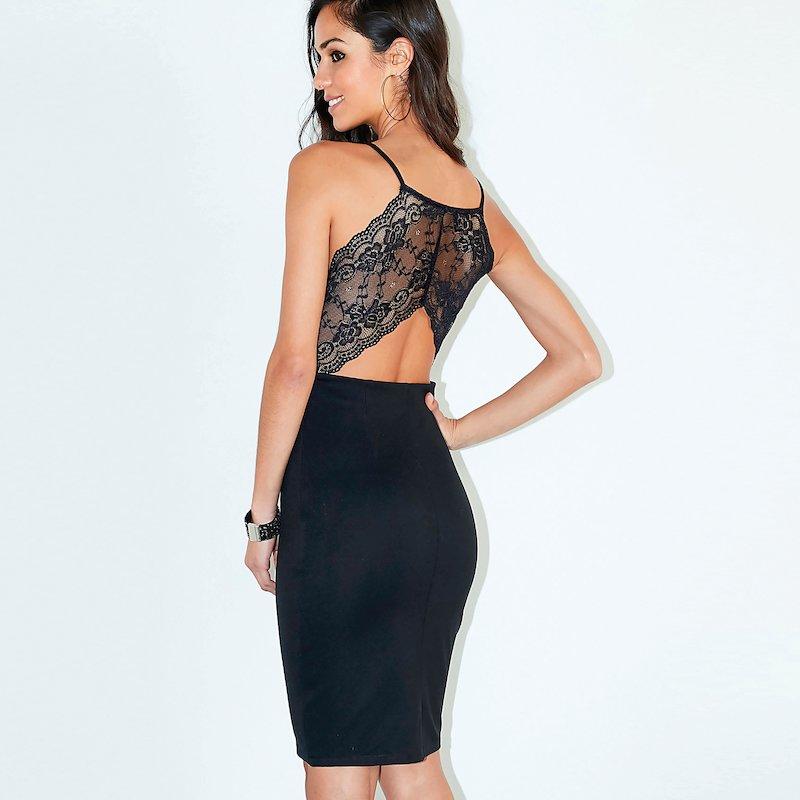 Vestido mujer fiesta punto milano espalda encaje