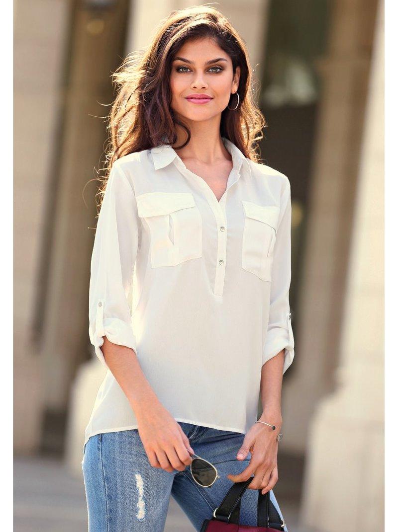 Camisa mujer bolsillos plastrón con botones nácar