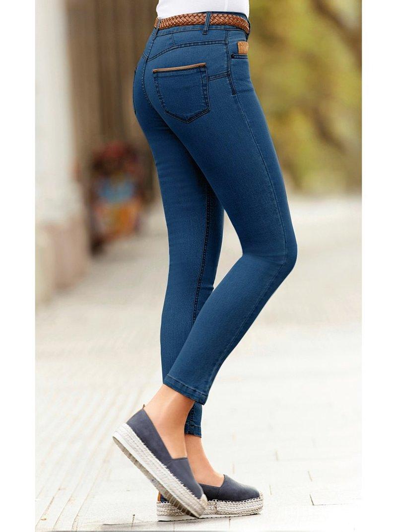Pantalón vaquero detalles símil piel skinny fit