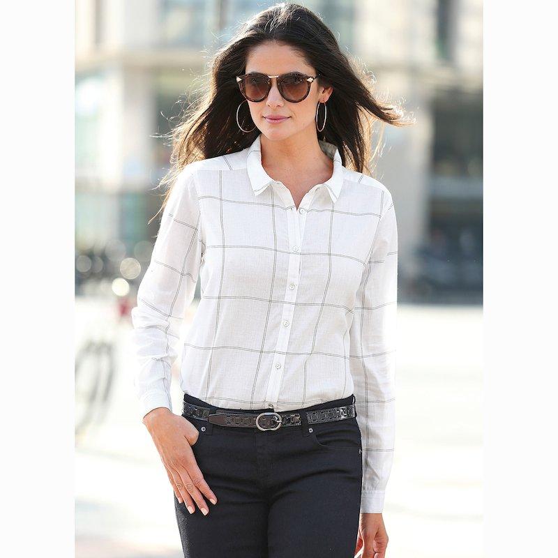 Camisa cuadros manga larga cambric 100% algodón