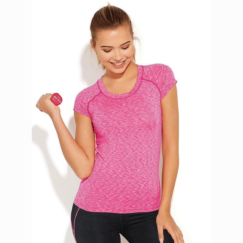 Camiseta mujer de microfibra con costuras remalladas