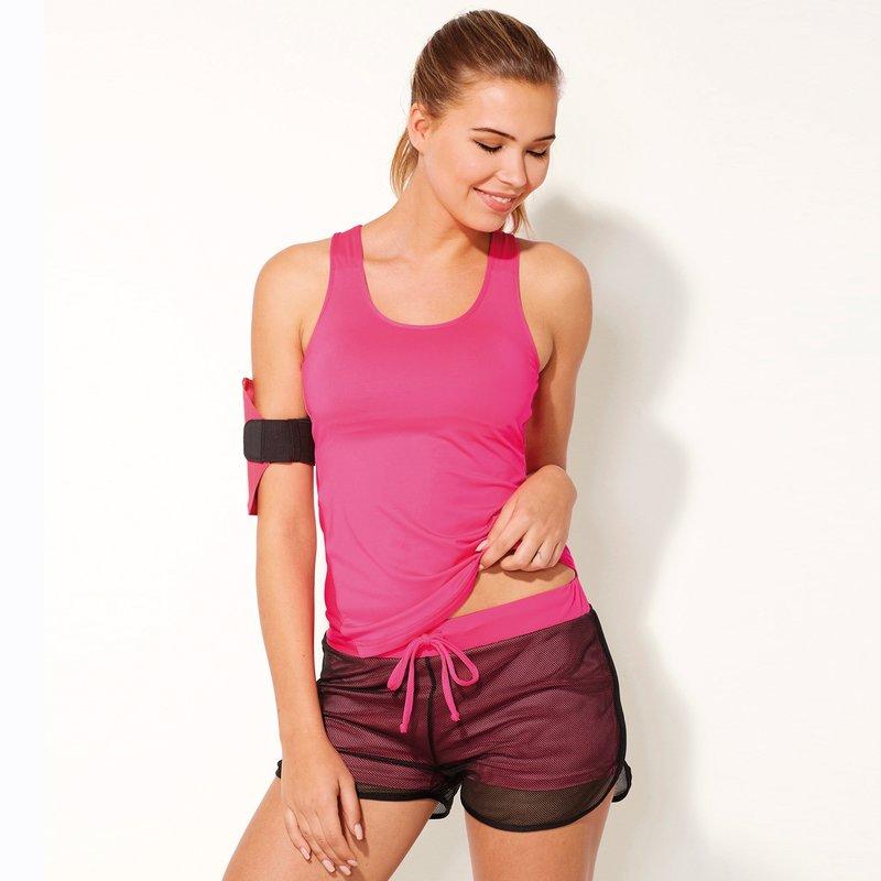 Short deportivo mujer de efecto doble microfibra