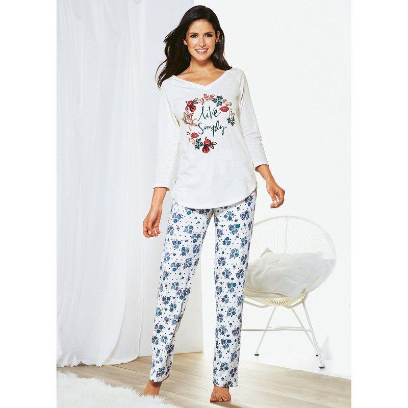 Pijama largo mujer escote V y pantalón de flores - Crudo