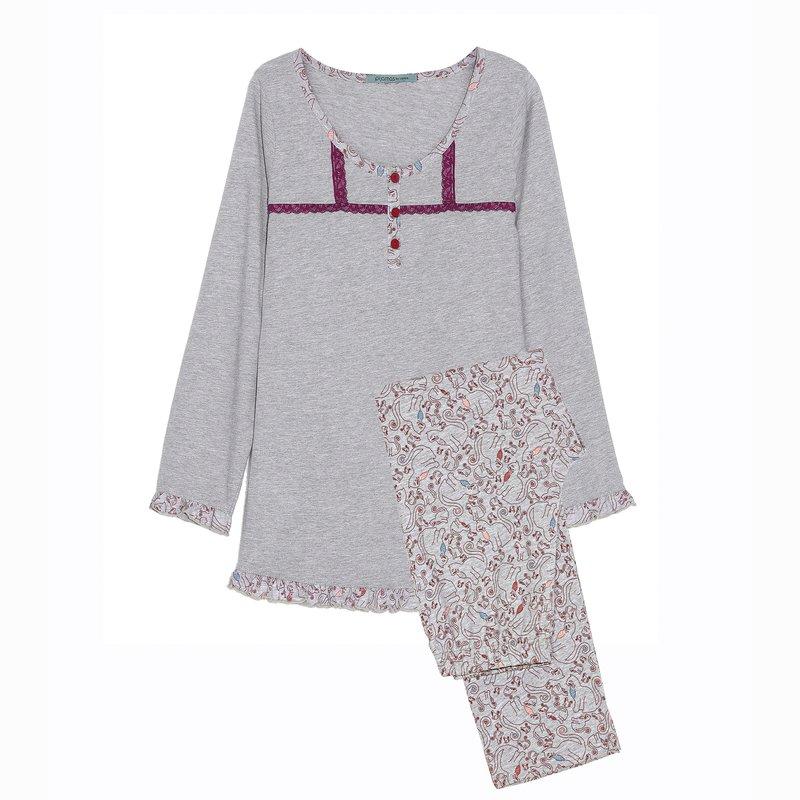Pijama camiseta con encaje y pantalón largo