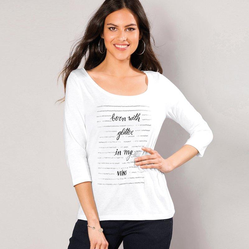 Camiseta mujer estampado frontal y lentejuelas