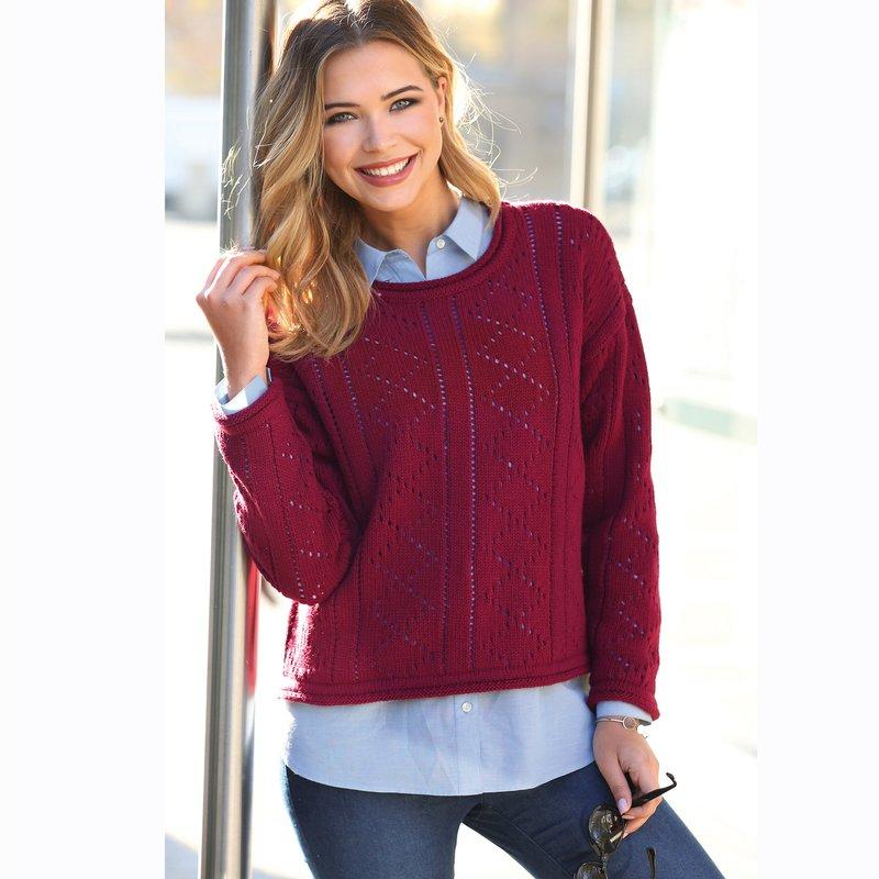 Jersey tricot calado fantasía de acabado roulé
