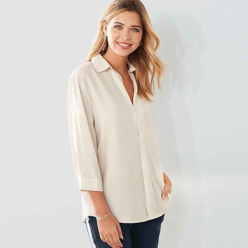 Camisa tejido de crepe manga 3/4 con pliegues