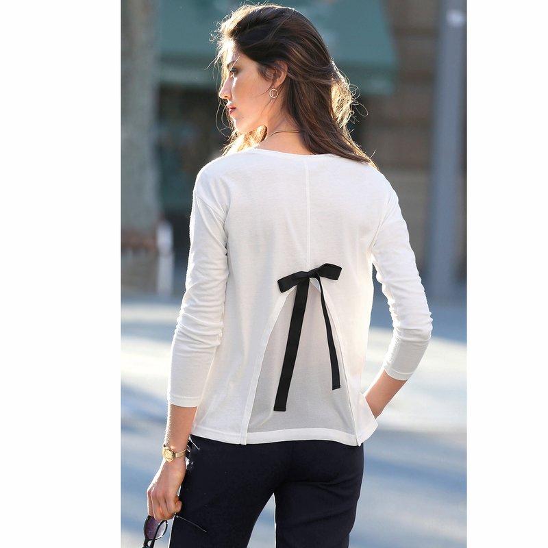 Camiseta mujer espalda de efecto doble con lazo