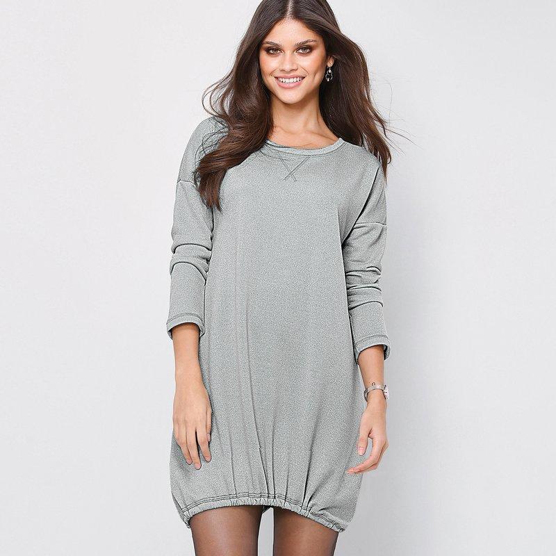 Vestido mujer felpa hilos metalizados bajo ajustable